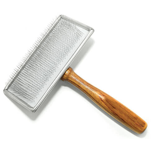 More informations about: Sliker brush for dogs - soft pimples and wooden handle - large model