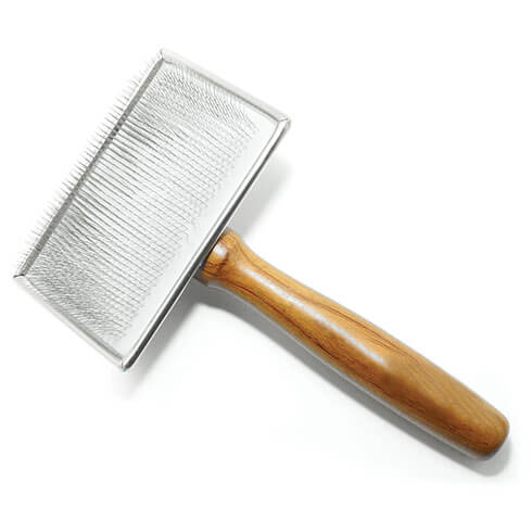 More informations about: Sliker brush for dogs - soft pimples and wooden handle - very large model