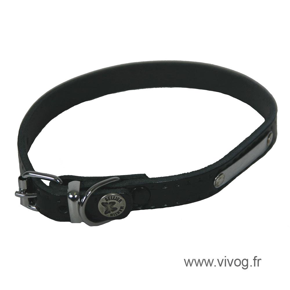 Collier d'identification en cuir noir pour chien - Coupé franc riveté