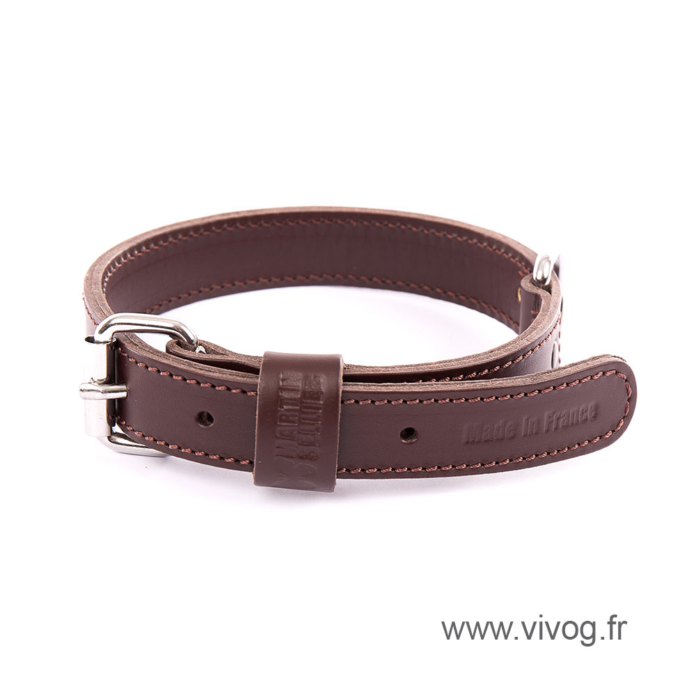 Brown leather dog collar - double thick
