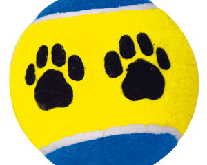 Tennis ball with paw design