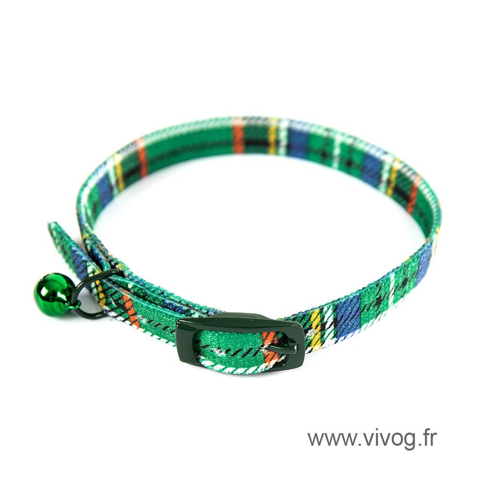 Cat straight collar right - green Scots
