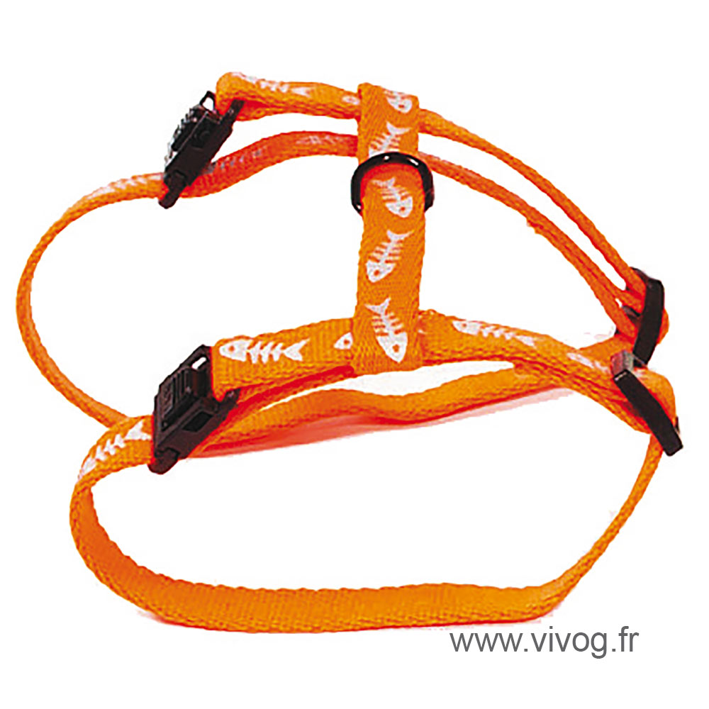 Harnais pour chat - Fluo Fish - orange