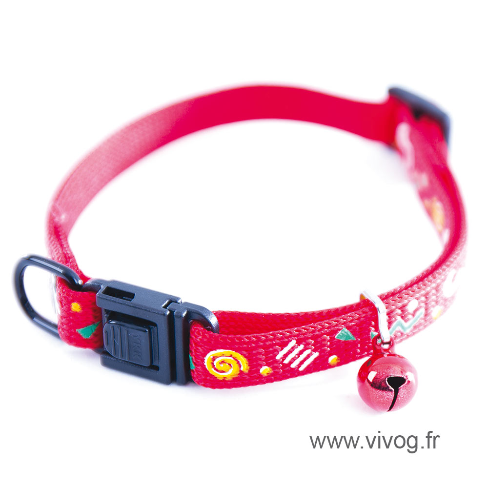 Collar for cat - Carnaval red