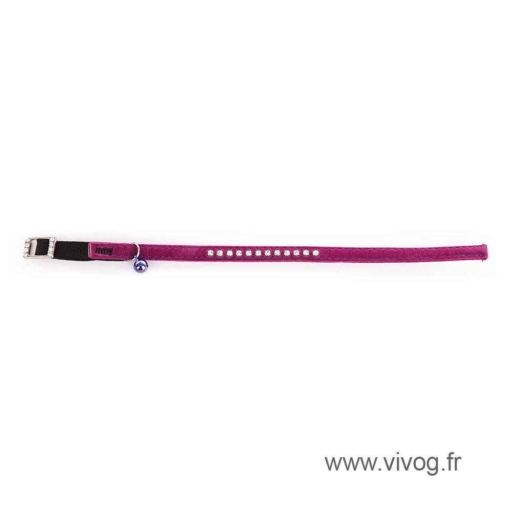 Collar for cat - Suedine Strass - purple