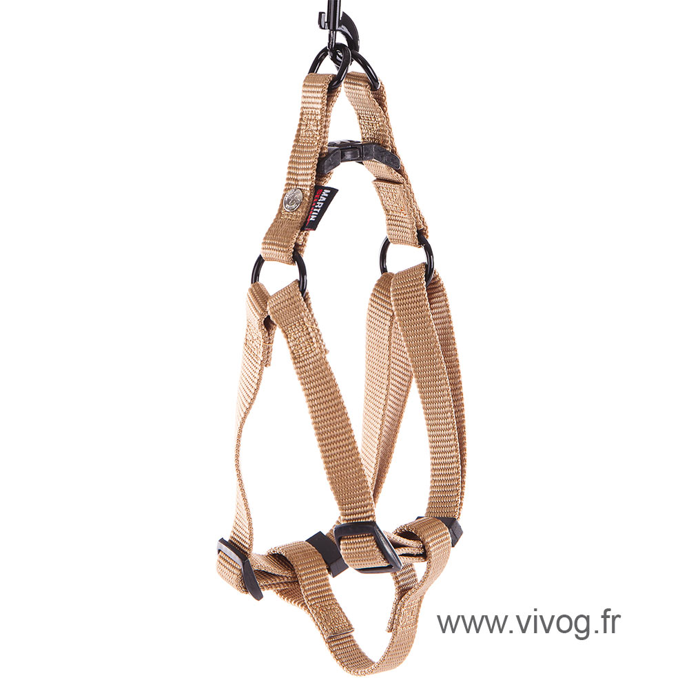 Step in harness for dog beige nylon