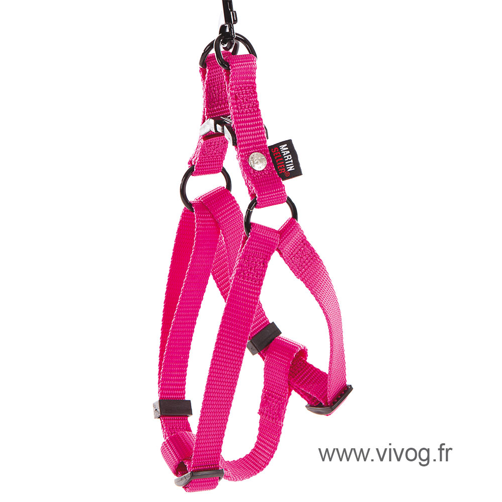 Step in harness for dog pink nylon