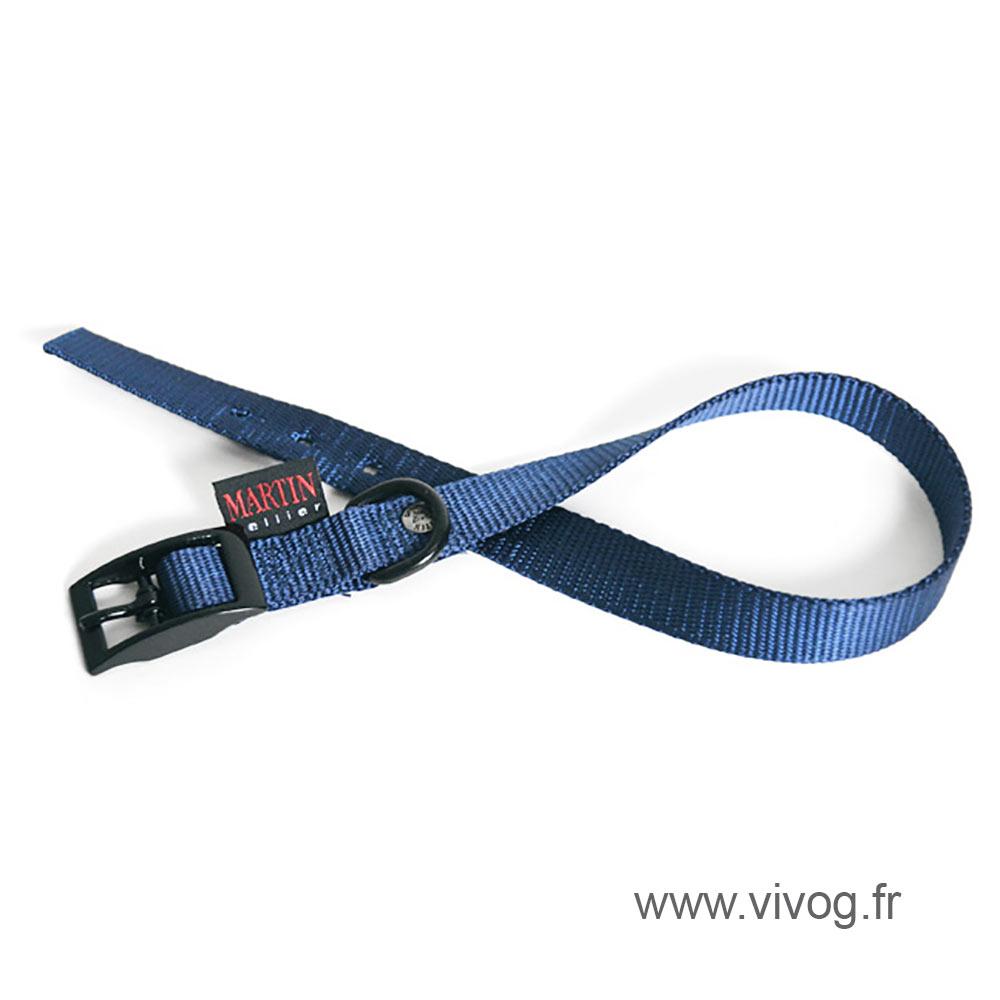 Collier droit en nylon bleu pour chien