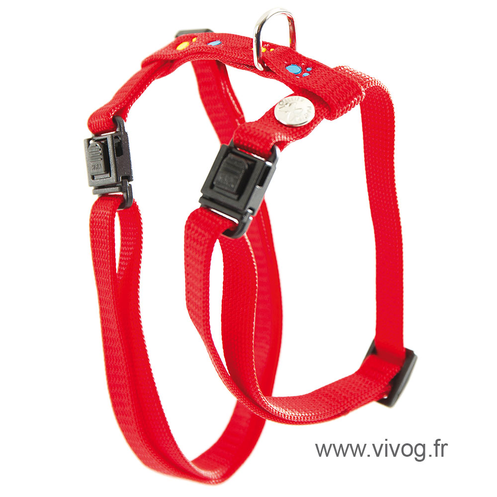 Harness for cat - cat paws - red