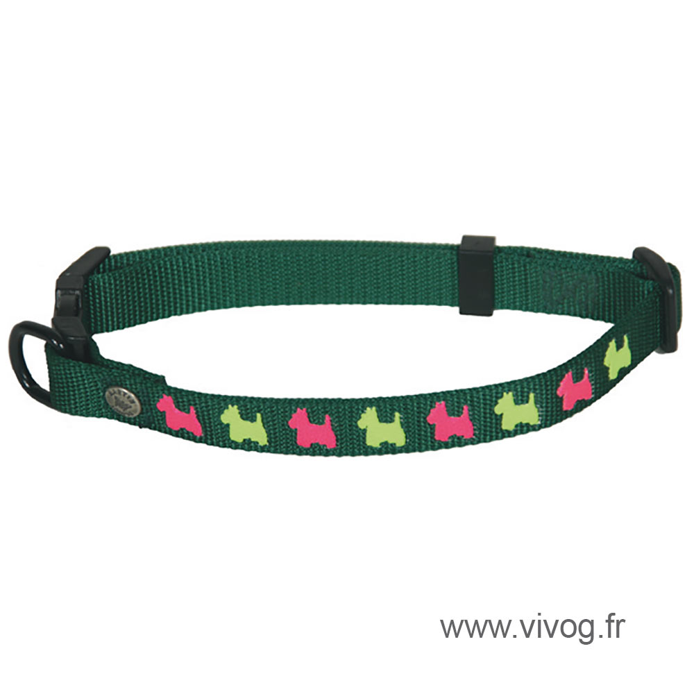 Dog collar - green dog motifs