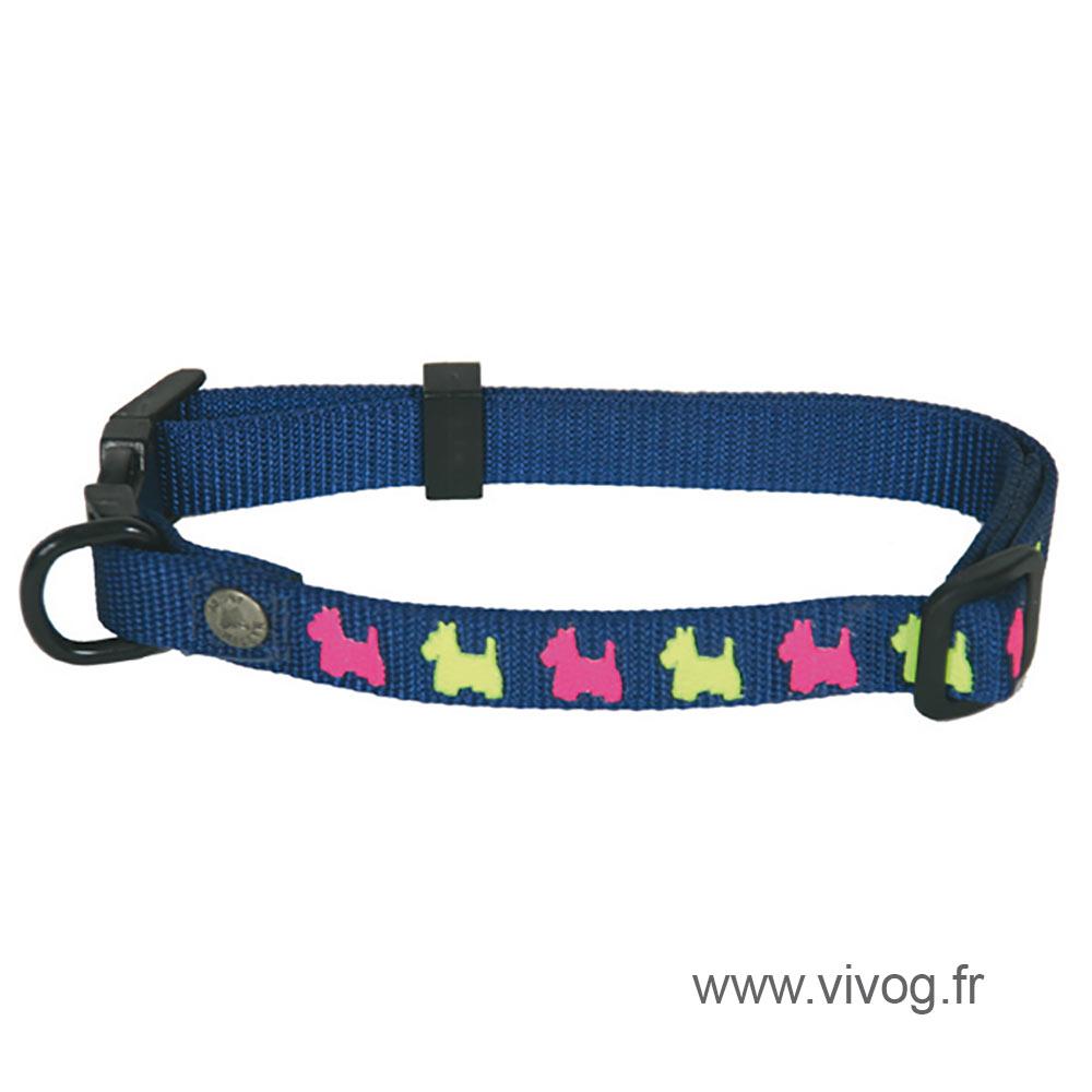 Collier pour chien - bleu motifs chiens