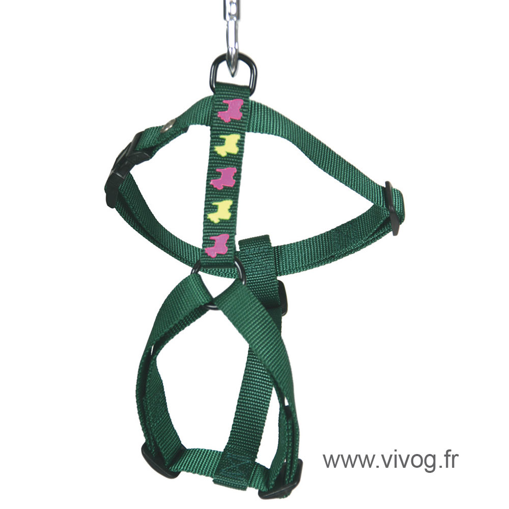 Dog harness - green dog motifs