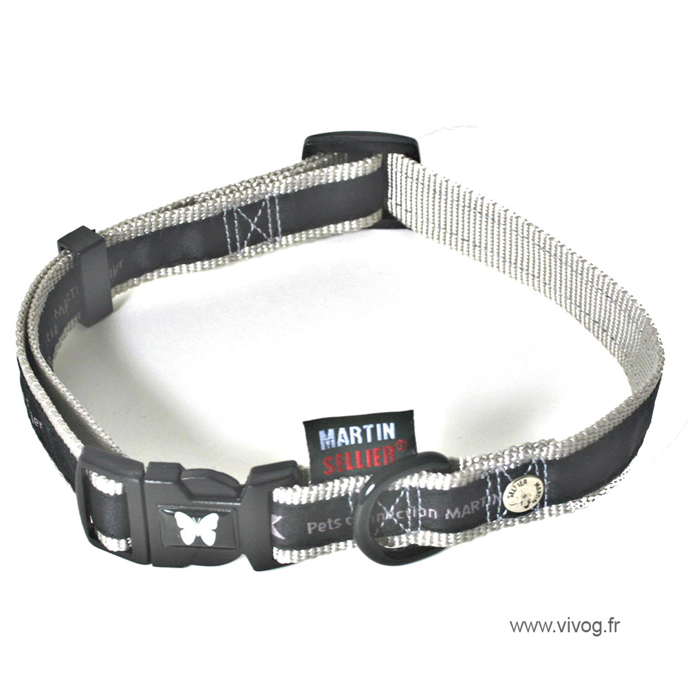 Collier réglable noir pour chien - Pets connection