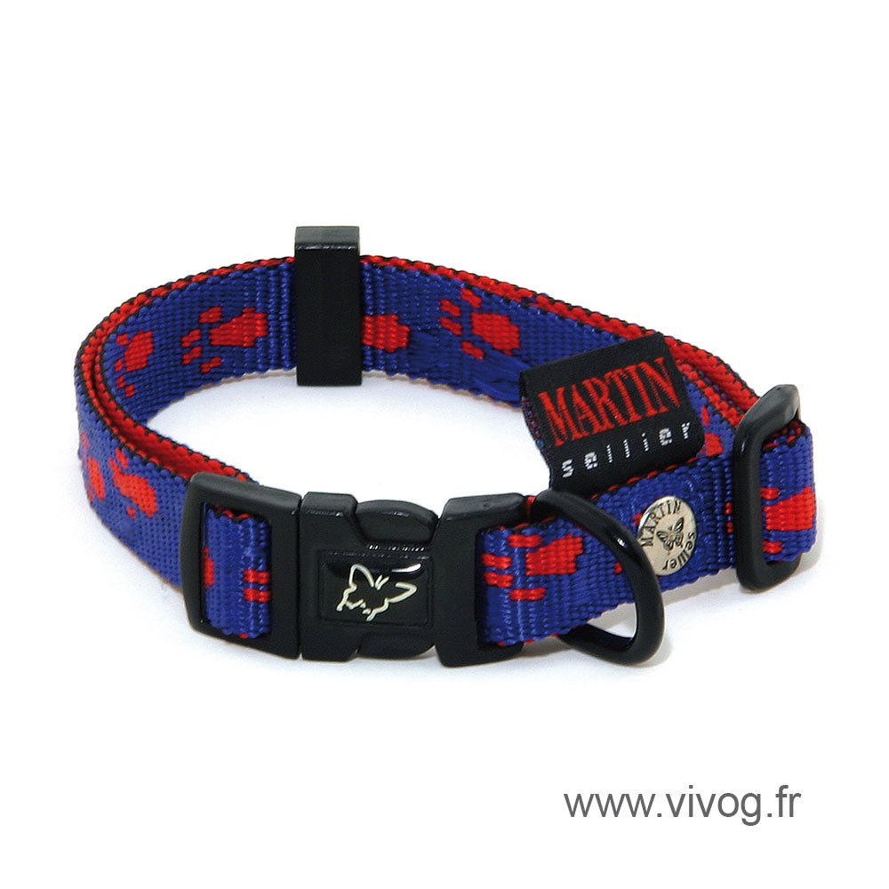 Blue red dog Collar - original paw