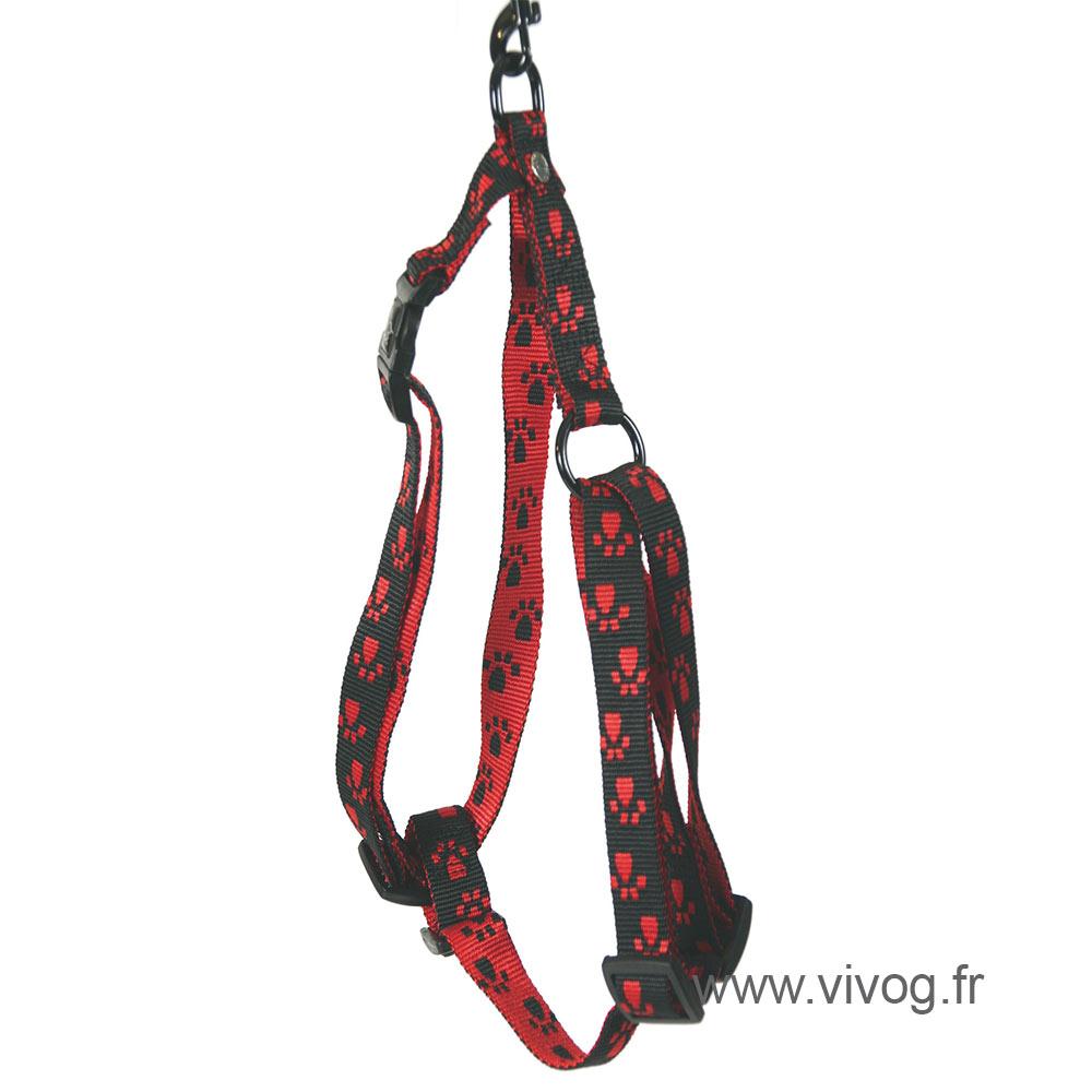 Harnais pour chien noir rouge - pattes originales