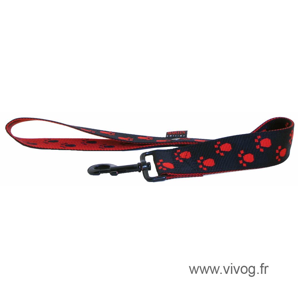 Laisse pour chien noir rouge - pattes originales