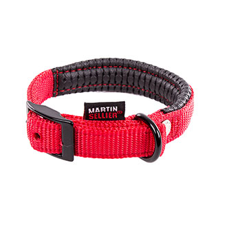 Right collar comfort for dog red nylon