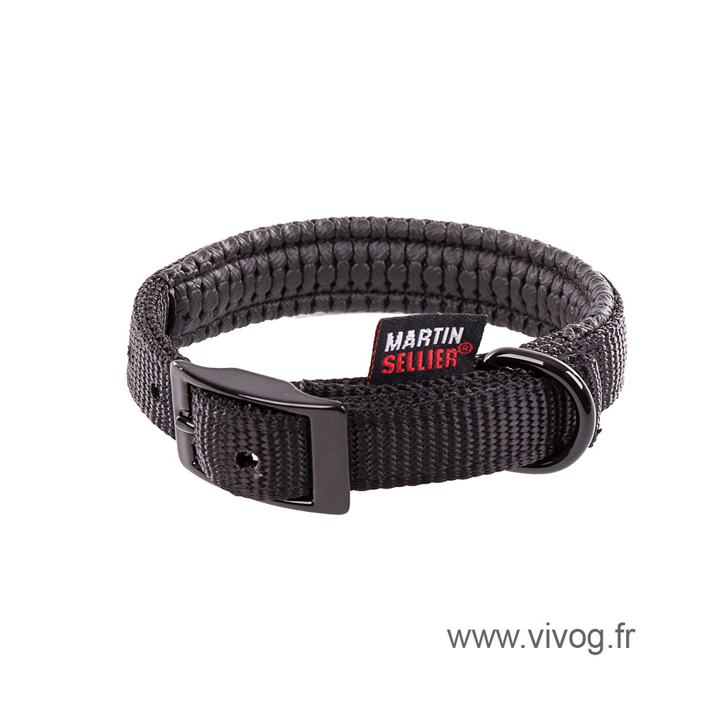 Right collar comfort for dog black nylon
