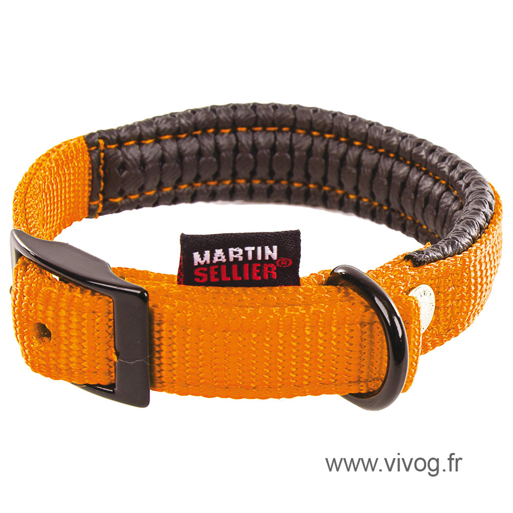 Right collar comfort for dog orange nylon