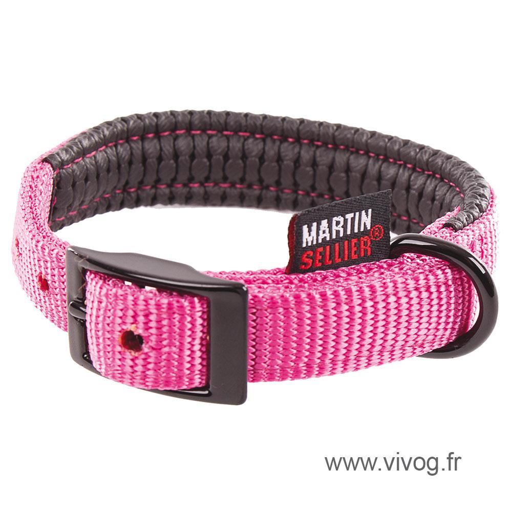 Collier droit confort pour chien en nylon rose
