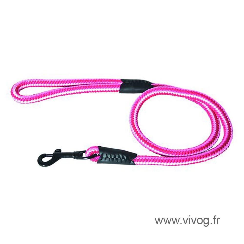 Laisse pour chien en nylon rond rose rouge