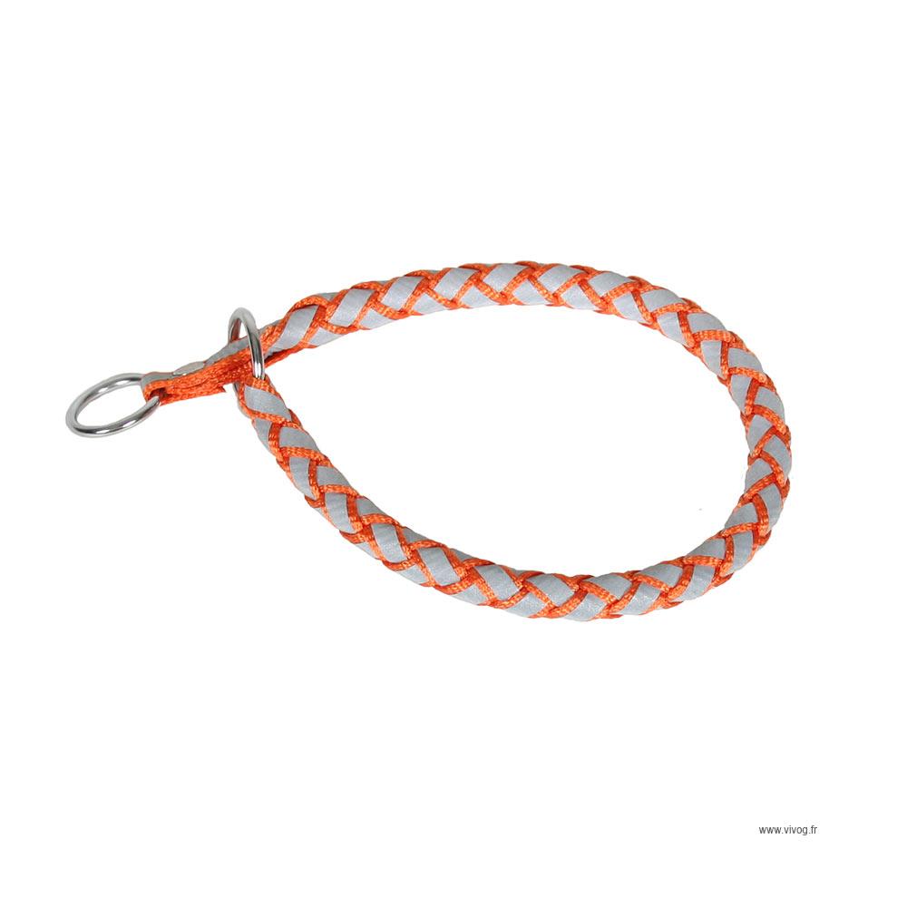 Collier étrangleur pour chien en nylon rond reflex orange