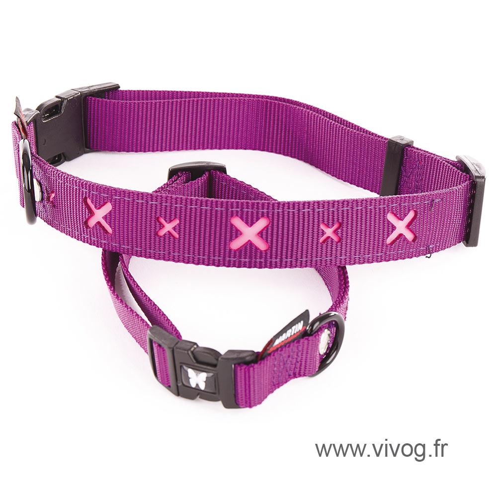 Dog collar - pink cross