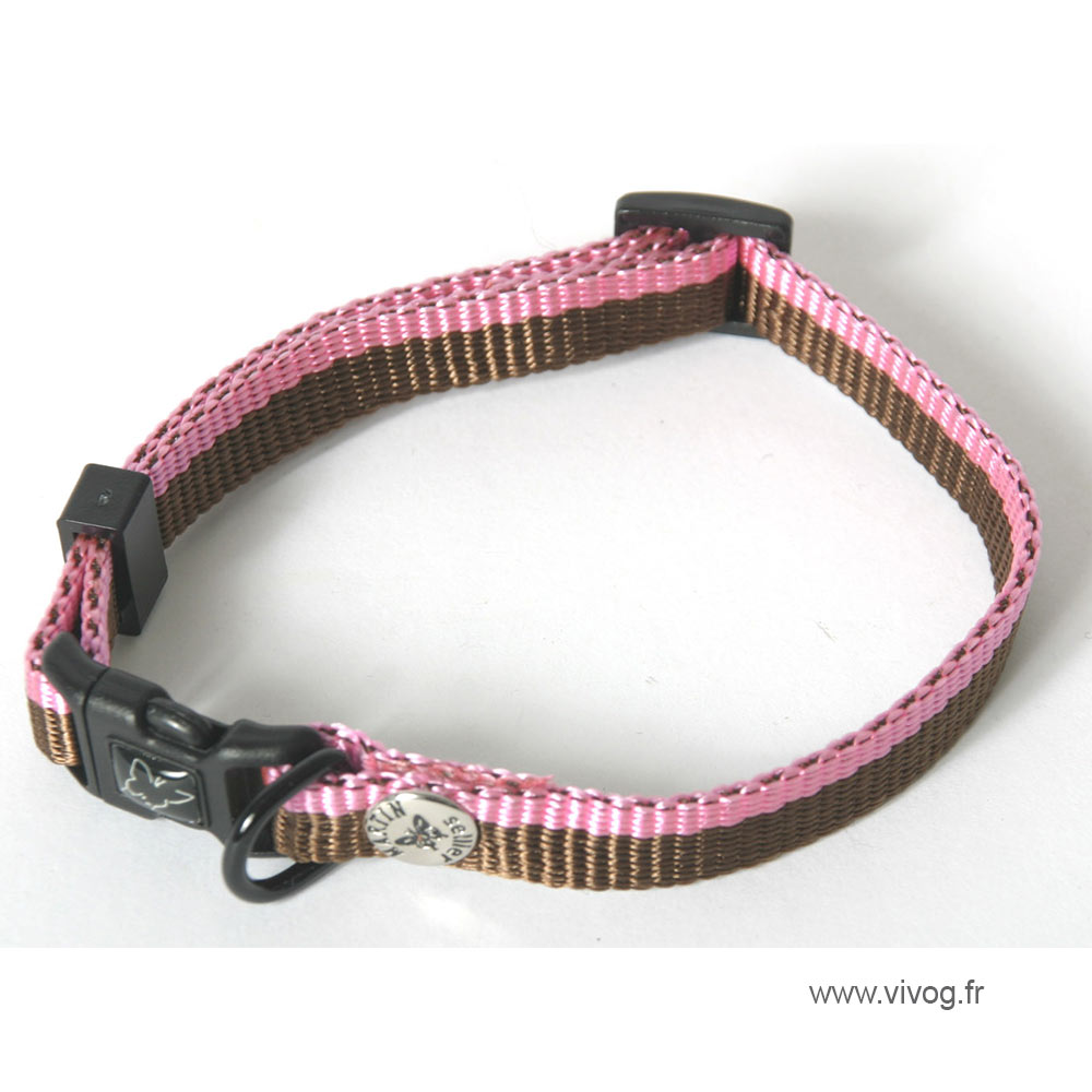 Collier pour chien - Choco rose