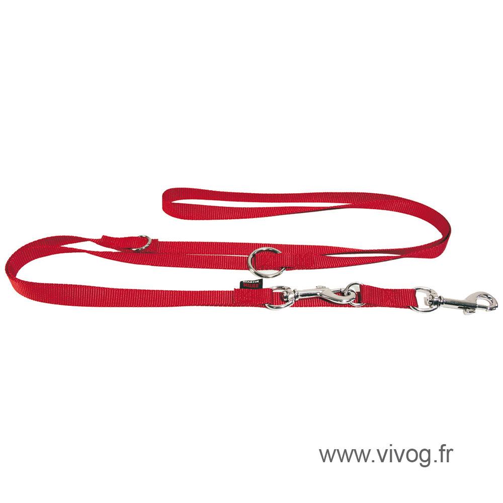 Laisse de dressage rouge 3 positions pour chien