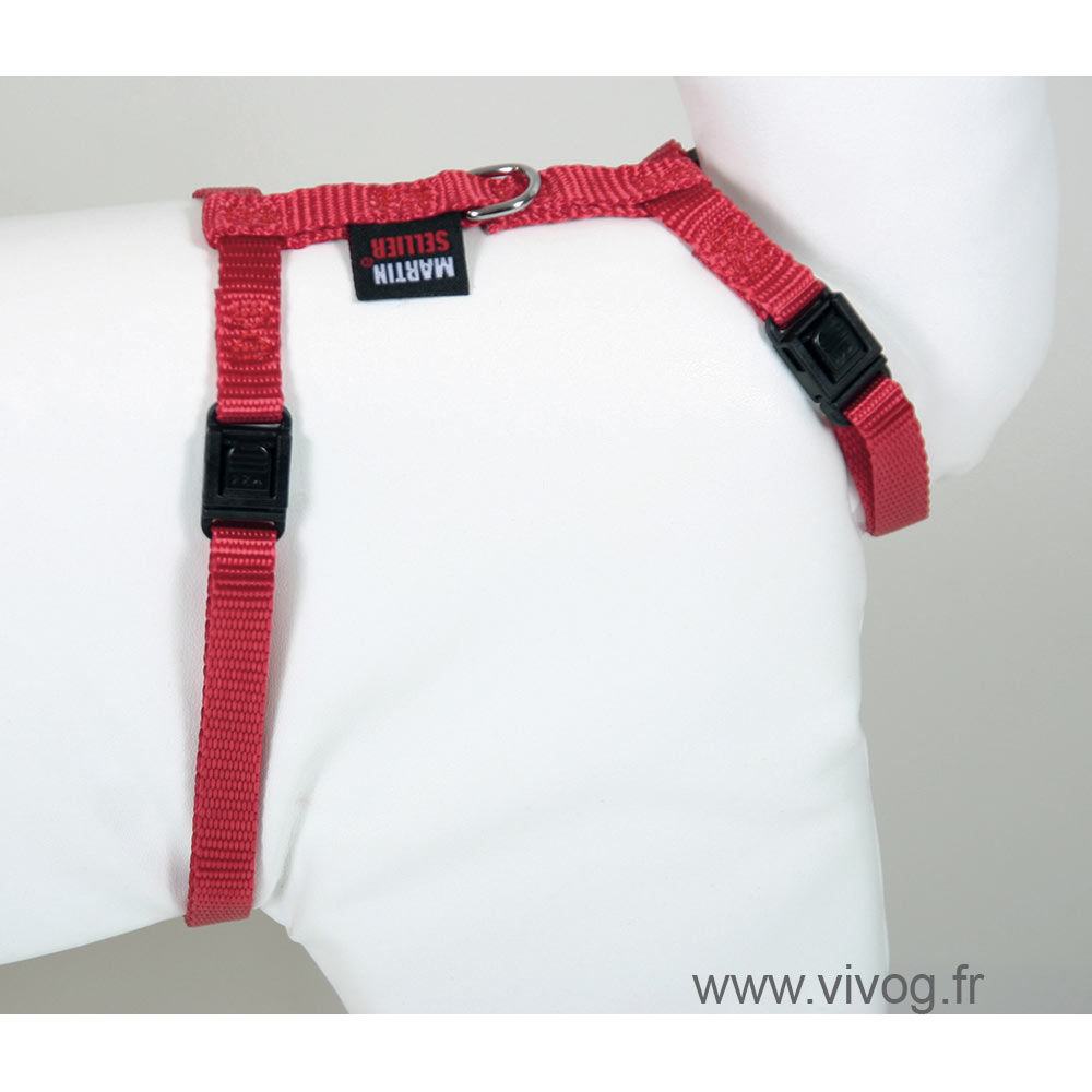 Cat harness - Plain Fabric - red