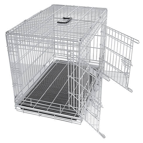 More informations about: Pet carrier - metal - background grid - Plastic tray - 2 doors