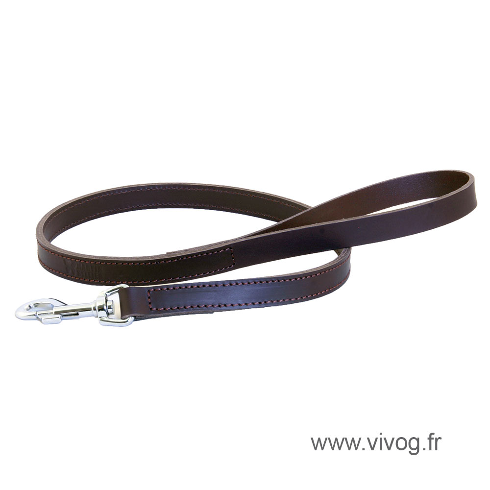 Brown leather lead for dogs - double thickness