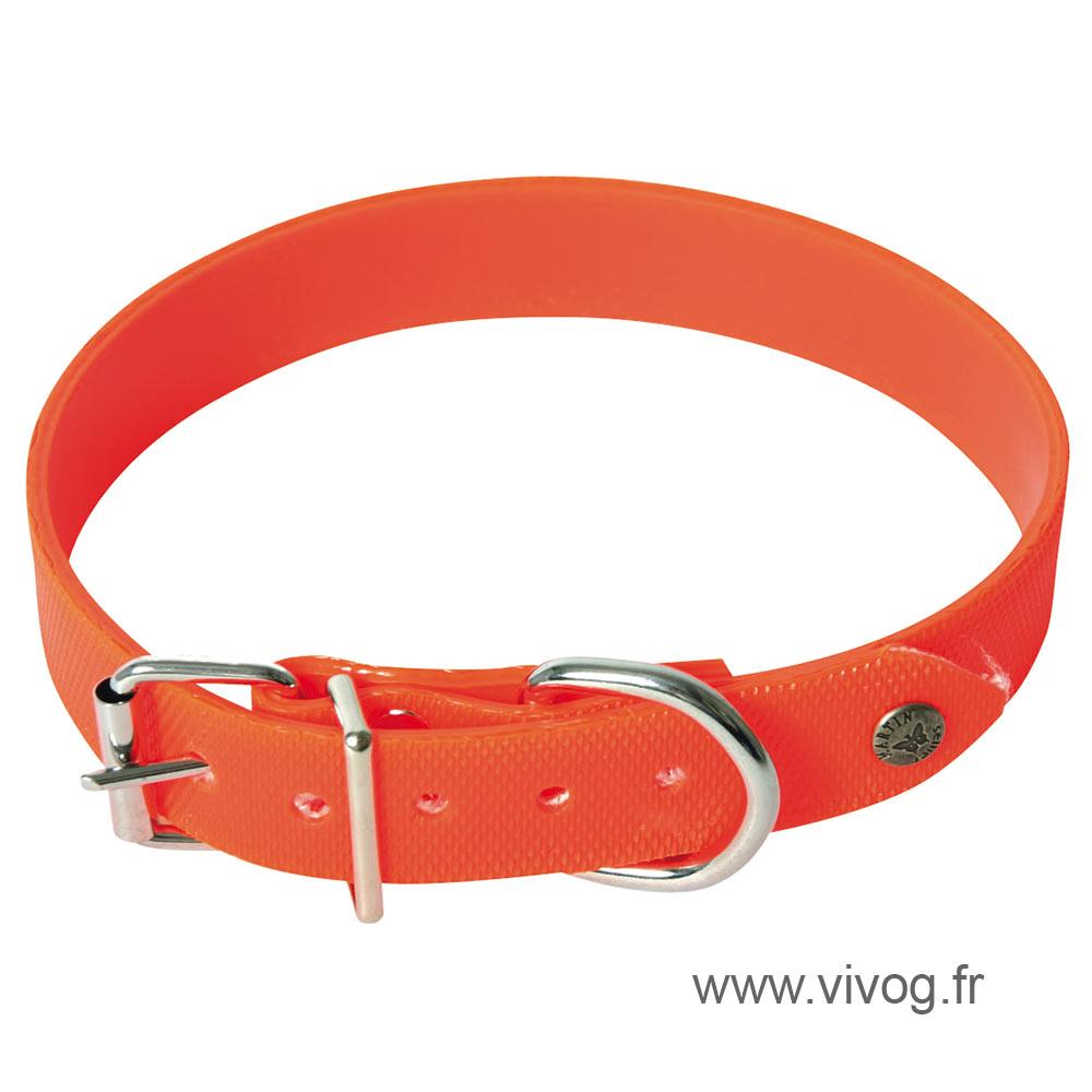 Collier orange plat réléchissant chasse pour chien