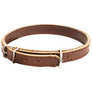 More informations about: Brown leather collar for dog doubled oil