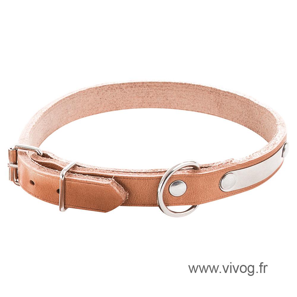 Coupé franc natural leather Dog Collar
