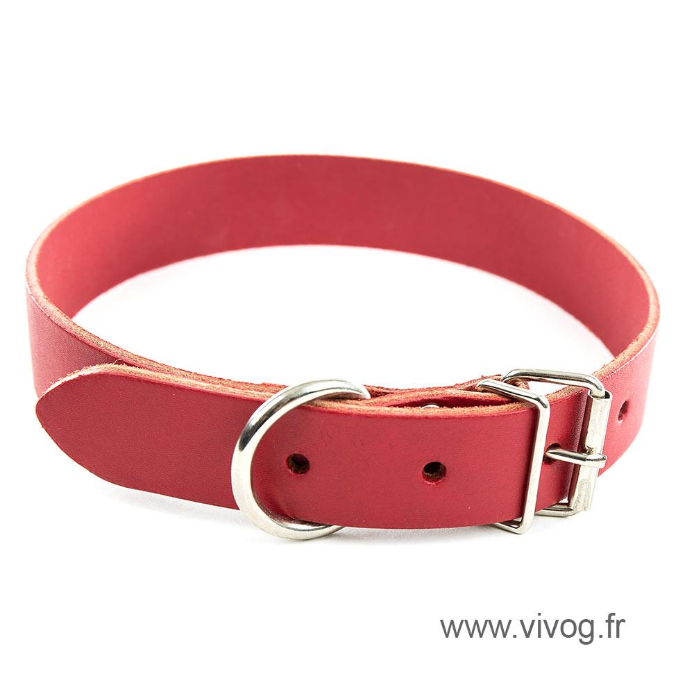 Collier en cuir rouge pour chien - cuir coloré classique