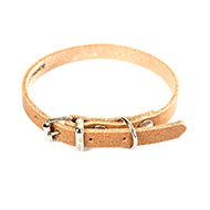 Natural leather dog collar - classic colored leather - W 16mm L 40cm