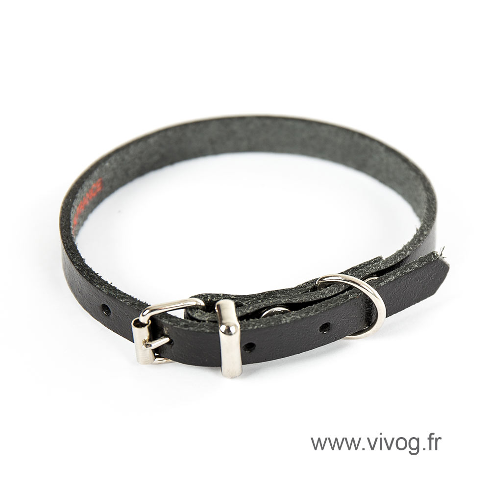 Black leather dog collar - classic colored leather