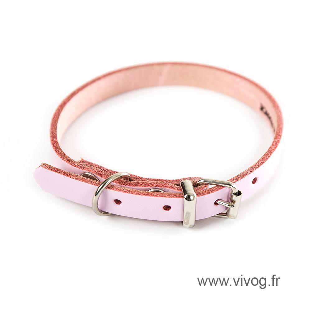 Collier en cuir rose pour chien - cuir coloré classique