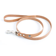 Natural leather lead for dog - classic colorful leather riveted - W 16mm L 100cm