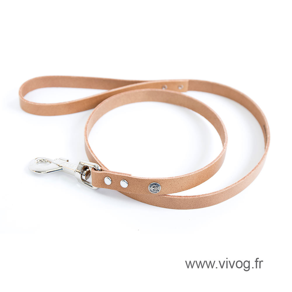 Natural leather lead for dog - classic colorful leather riveted