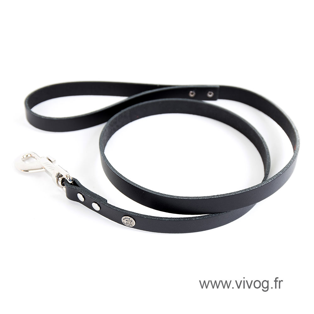 Black leather lead for dog - classic colorful leather riveted