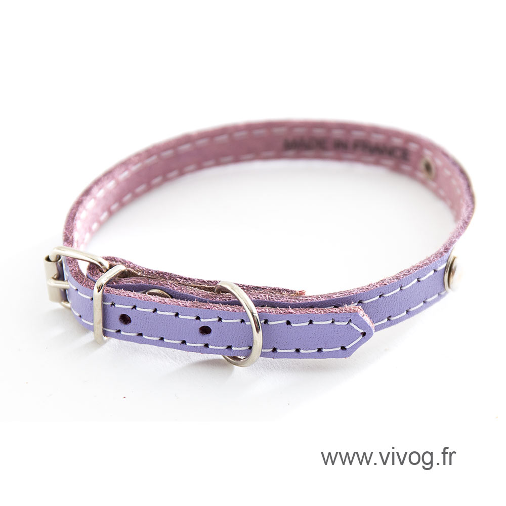 Purple leather dog collar - classic leather stitched with plate