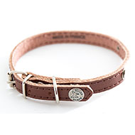 More informations about: Brown leather dog collar - classic leather stitched with plate