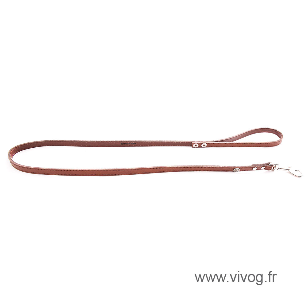 Brown leather lead for dogs - classic leather stitched with plate