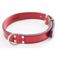 Red Leather Dog Collar - leather saddle stitching - W 18mm L 45cm