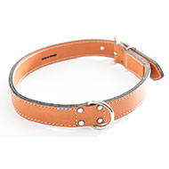 Natural Leather Dog Collar - leather saddle stitching - W 18mm L 45cm