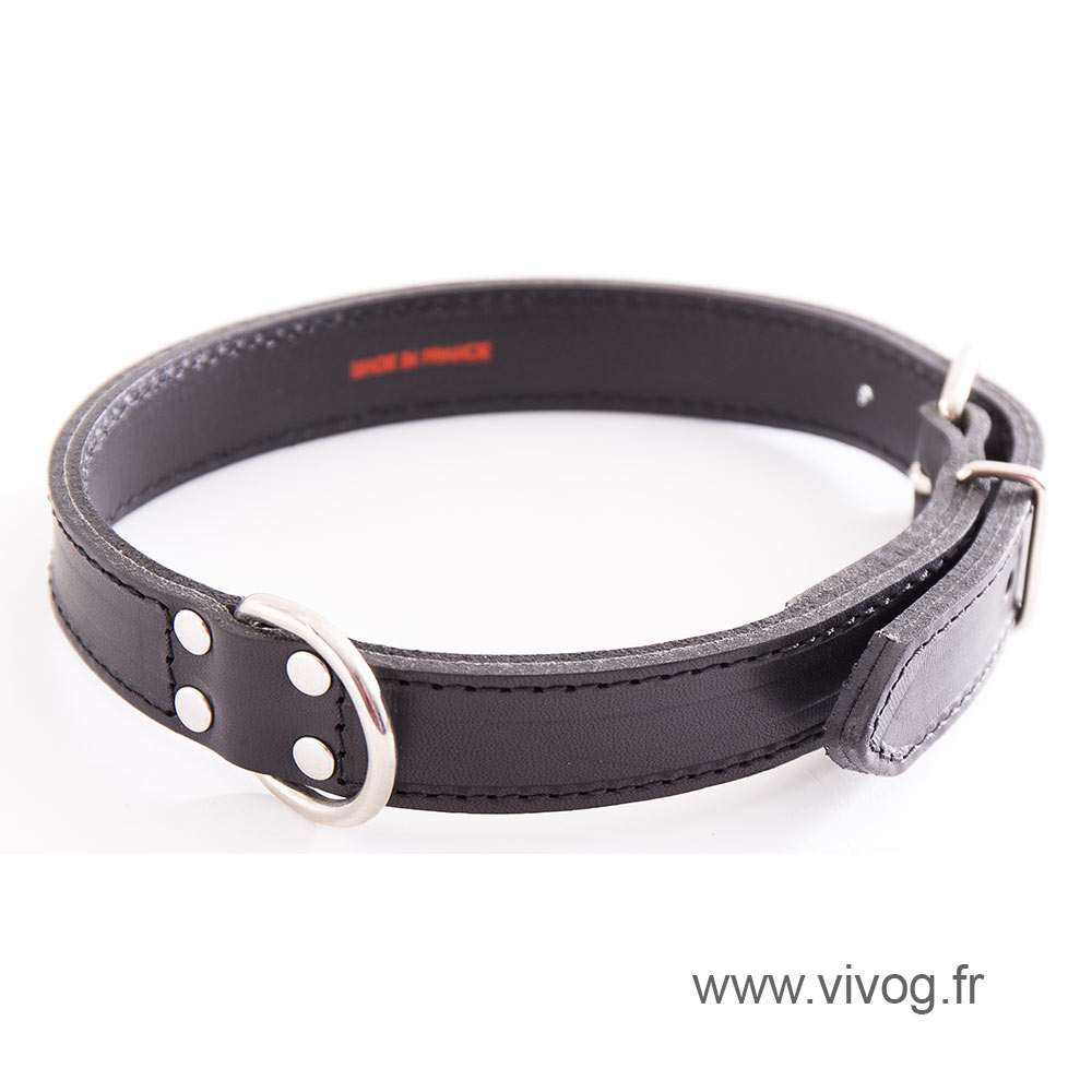 Black Leather Dog Collar - leather saddle stitching