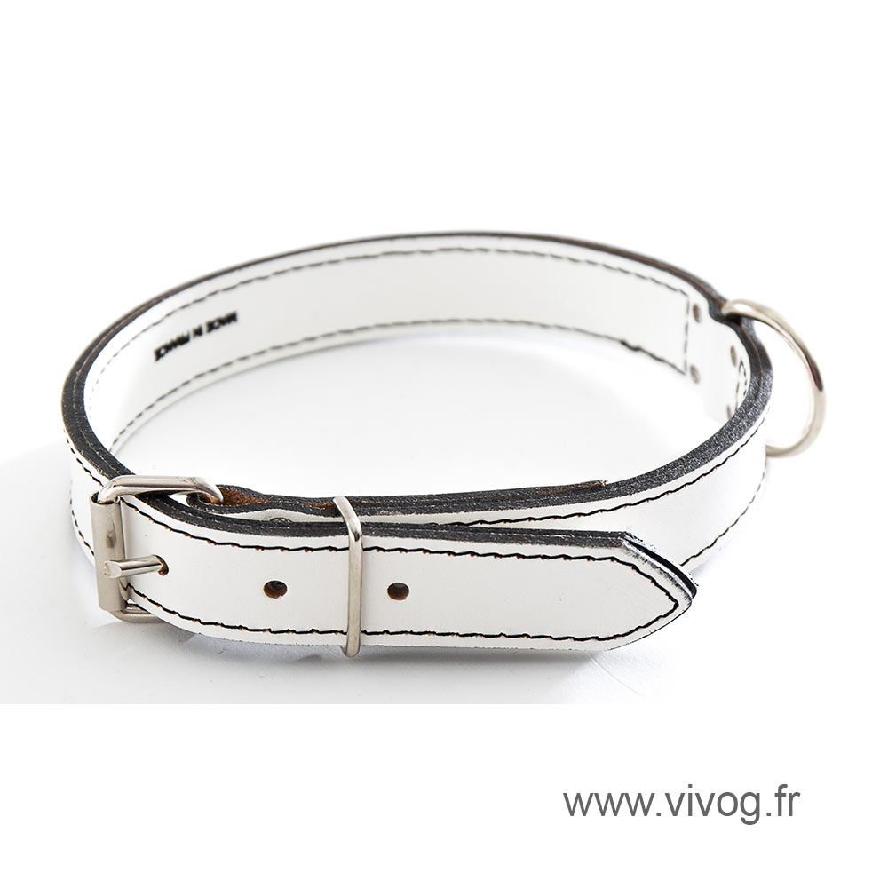 White Leather Dog Collar - leather saddle stitching