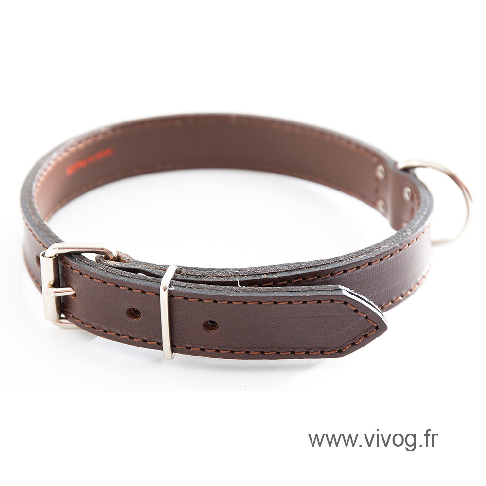 Brown Leather Dog Collar - leather saddle stitching